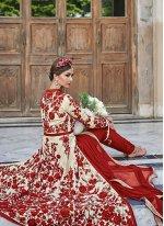 Red Embroidered Work Georgette Anarkali Salwar Kameez