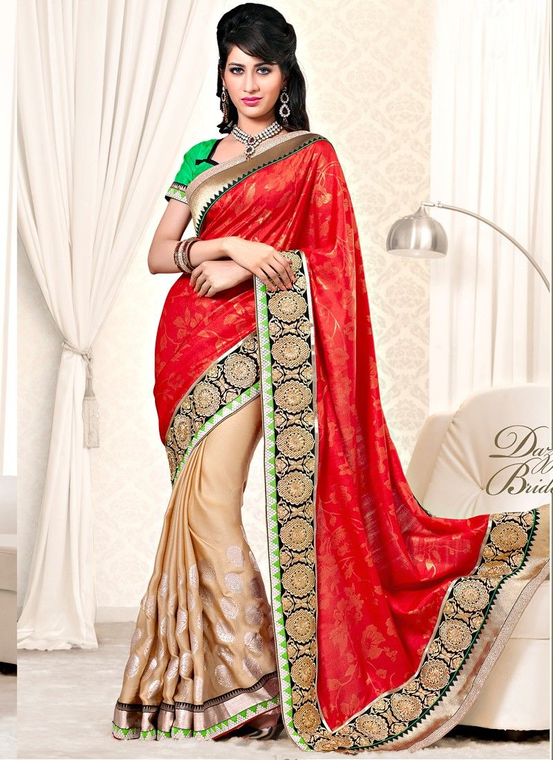 Red Jaquard And Satin Fabric Designer Saree
