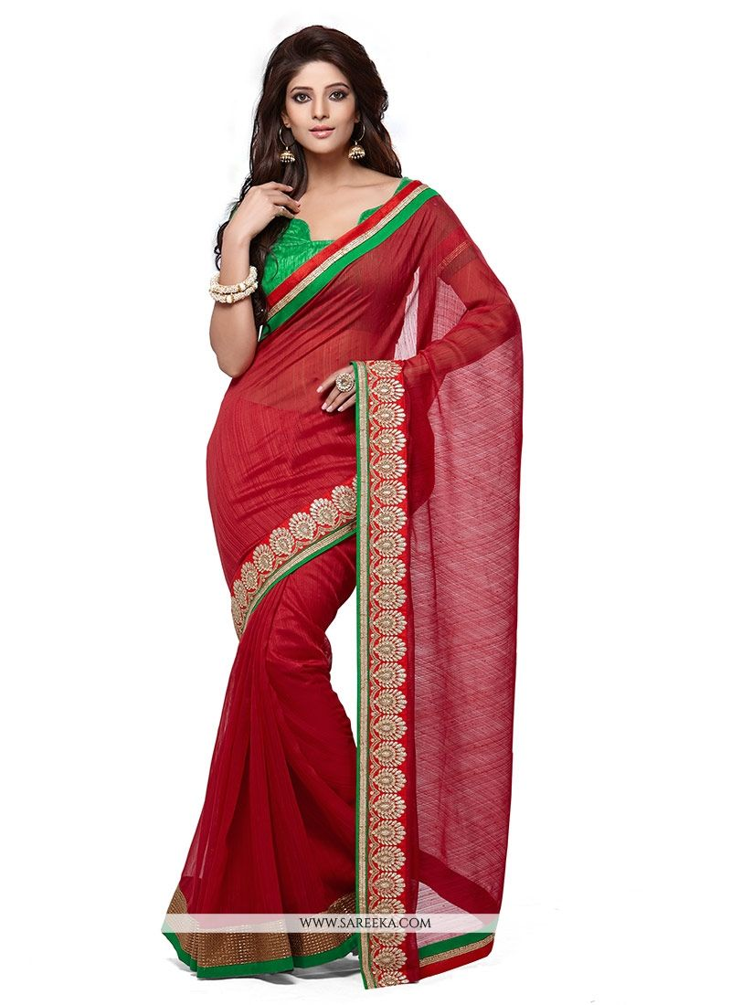 Red Manipuri Silk Casual Saree