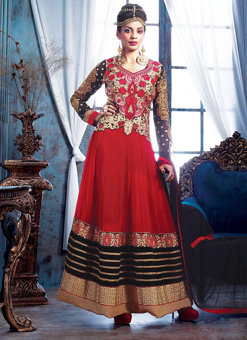 Red Zari Work Net Anarkali Salwar Suit
