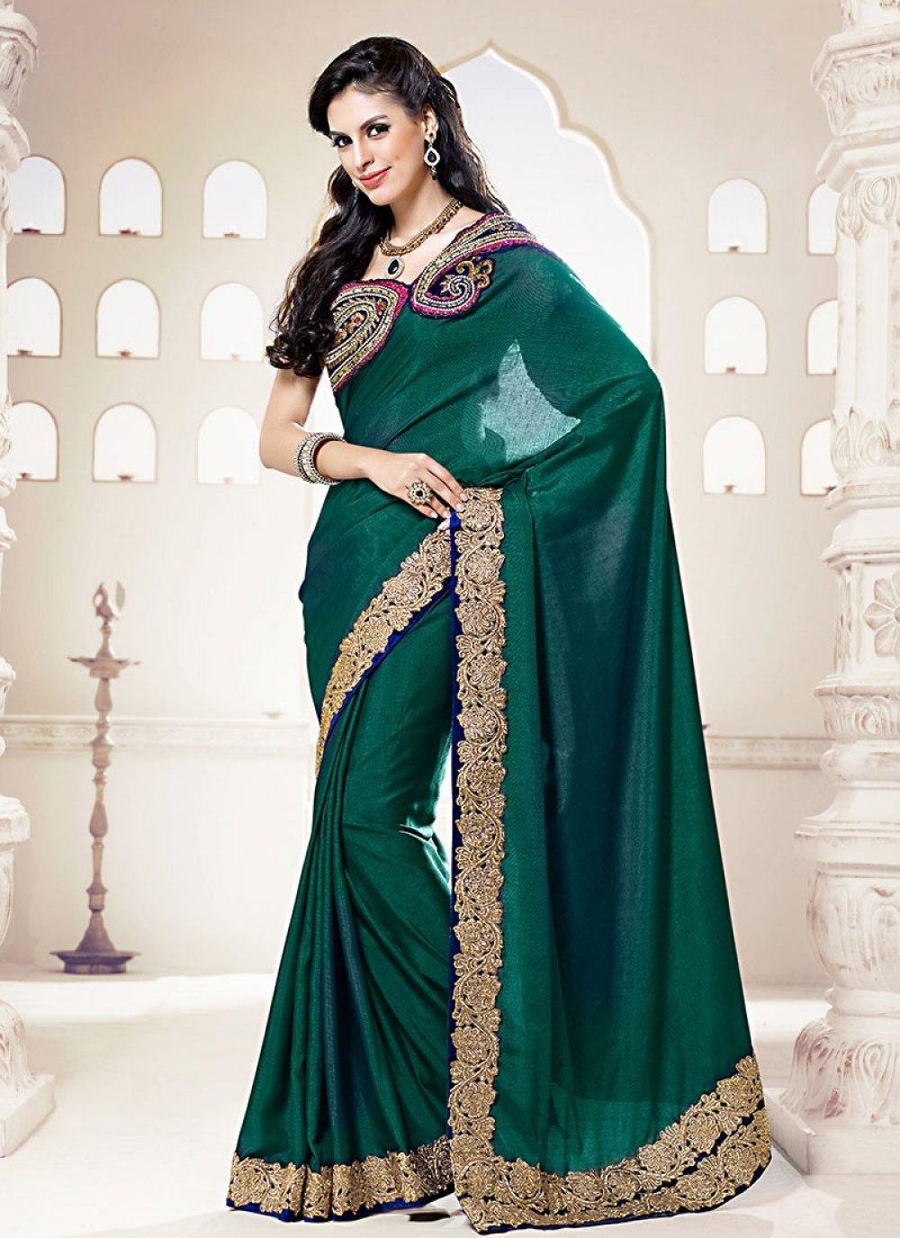 Teal Green Silk Wedding Saree