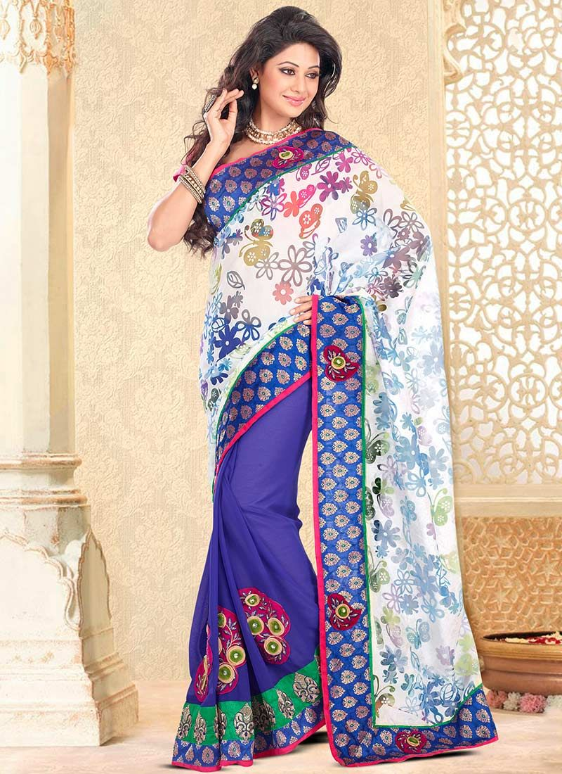 Violet And White Chiffon Half And Half Saree
