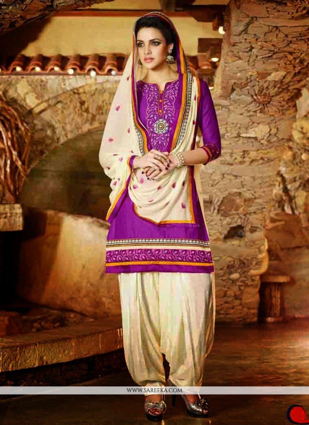 Violet Cotton Punjabi Suit