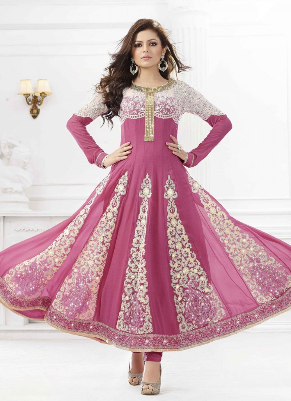 Violet Resham Work Net Anarkali Suit