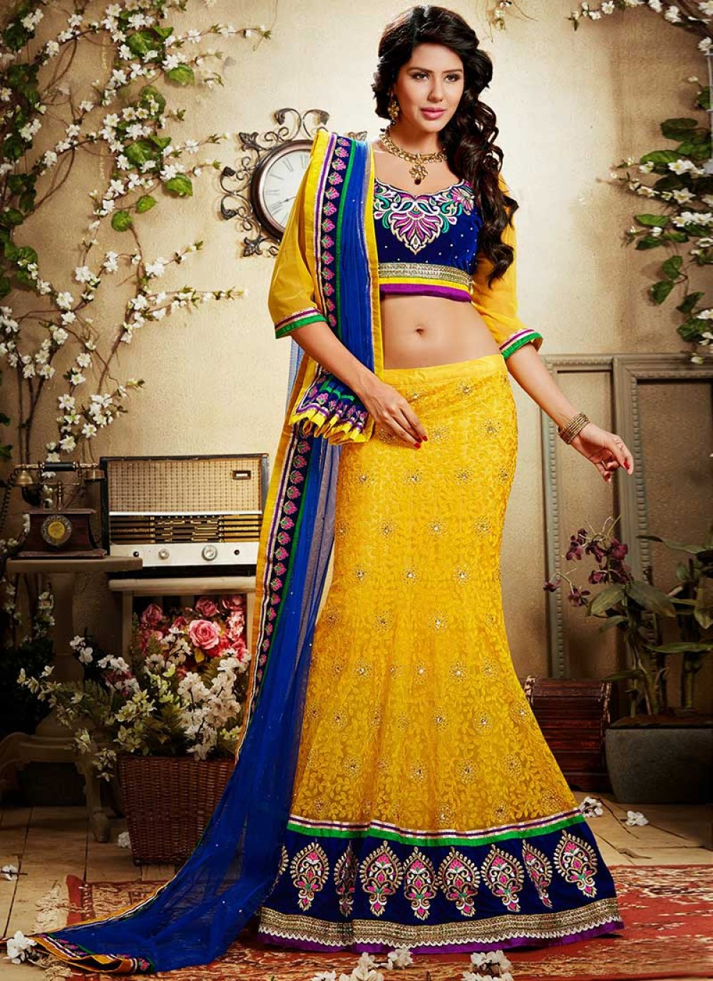 Yellow Crystals And Net Lehenga Choli