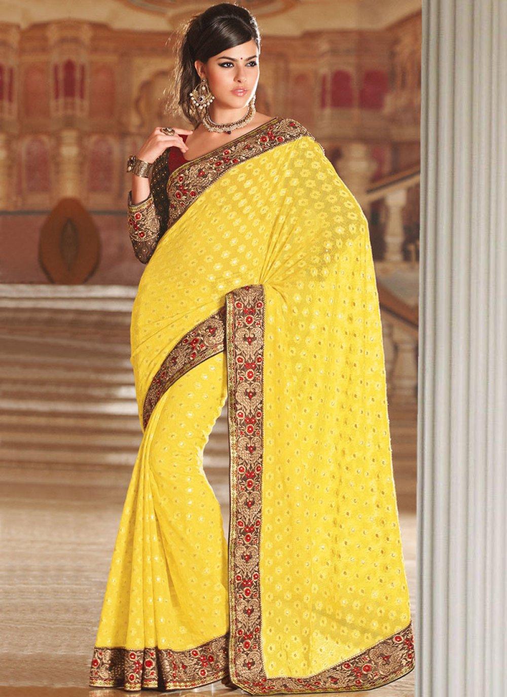 Yellow Net Wedding Saree