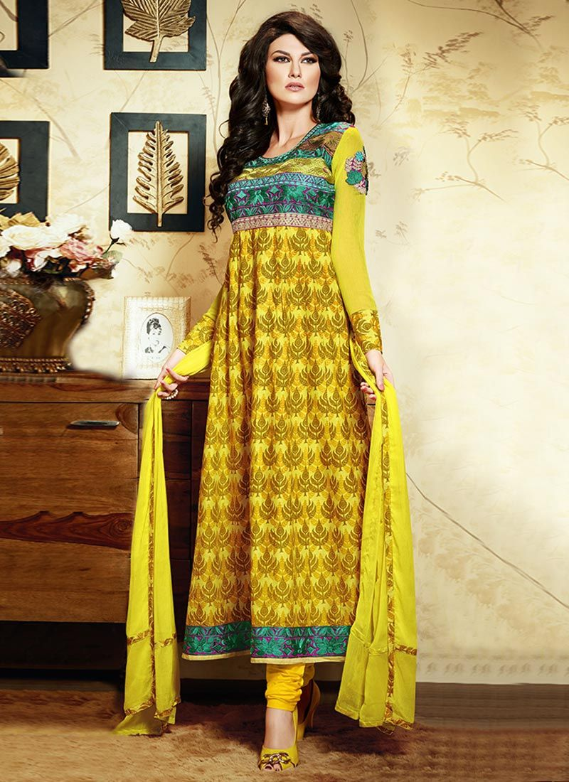 Yellow Printed Cotton Churidar Suit