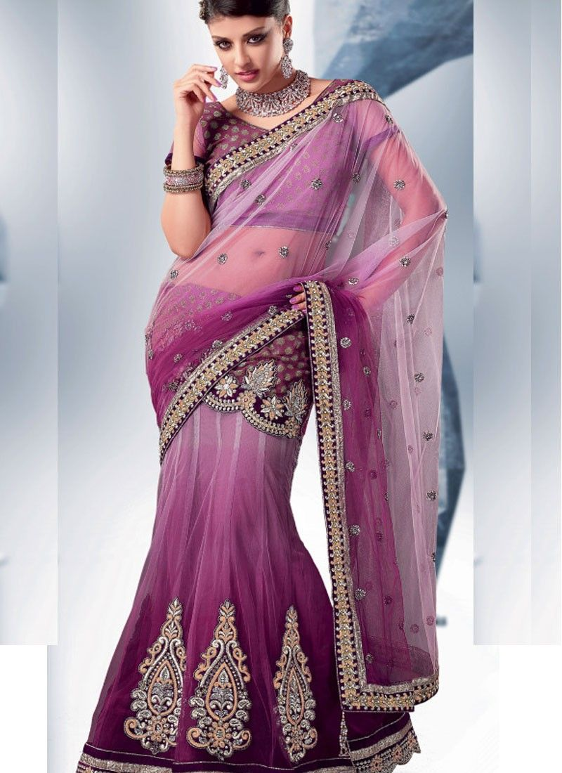 Luminous Bluish Purple Embroidered Saree