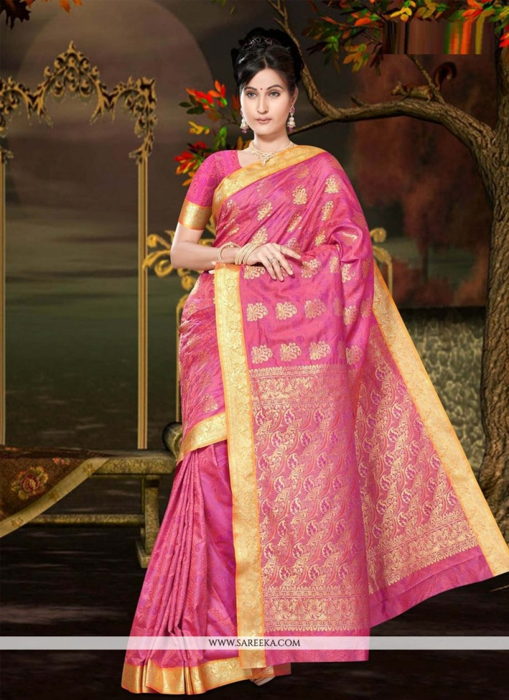 Lurid Hot Pink Art Silk Casual Saree