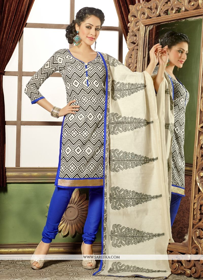 Lurid Lace Work Black and White Chanderi Cotton Churidar Salwar Kameez