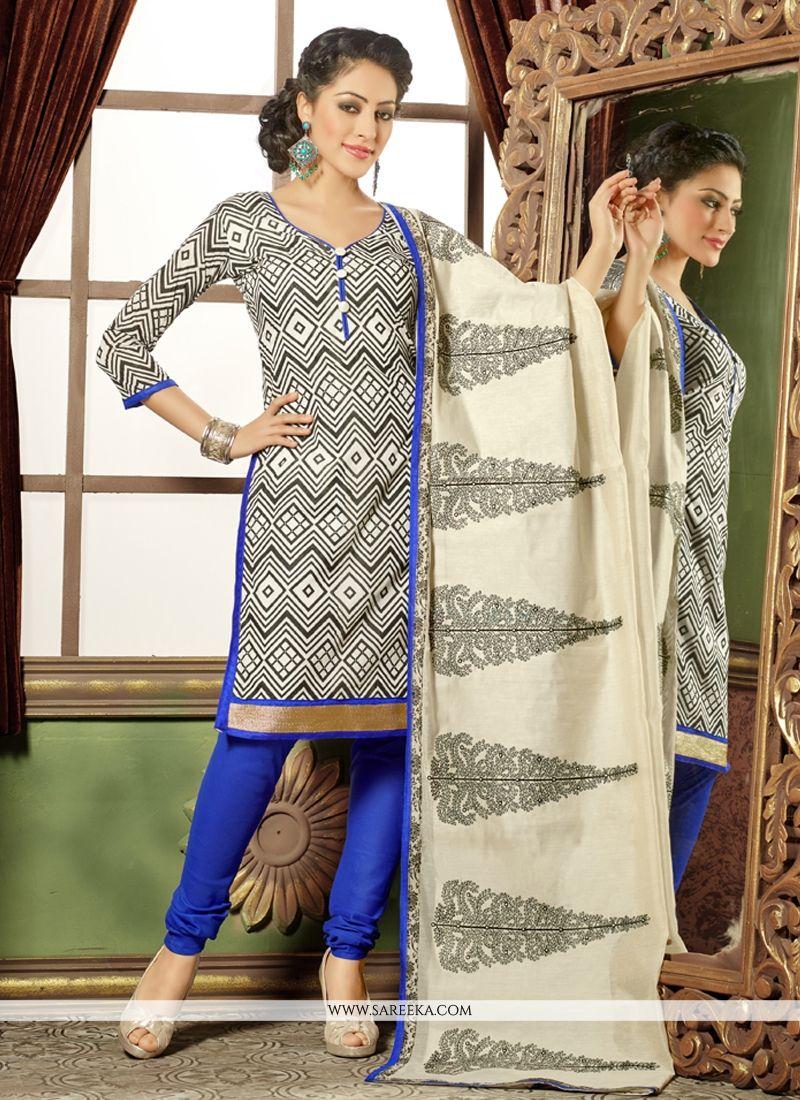 Lurid Lace Work Black and White Chanderi Cotton Churidar Salwar Kameez