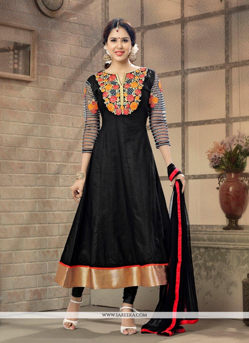 Lurid Resham Work Black Cotton   Anarkali Suit