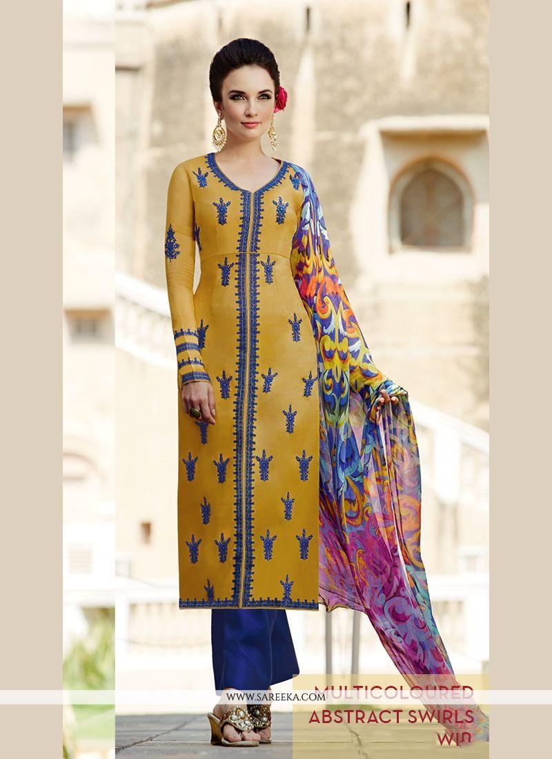 Lurid Resham Work Cotton Satin Designer Salwar Kameez