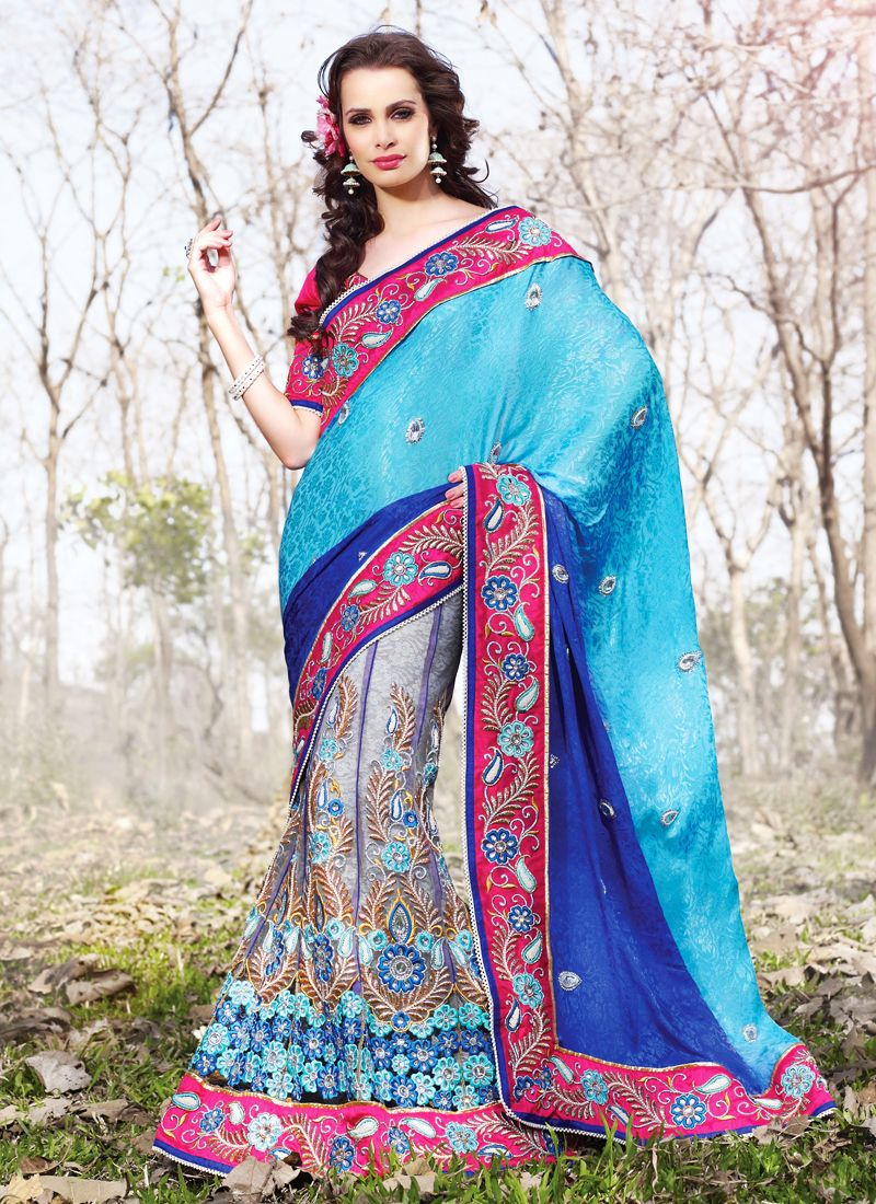 Luscious Aqua Blue, Deep Pink & Navy Blue Embroidered Saree