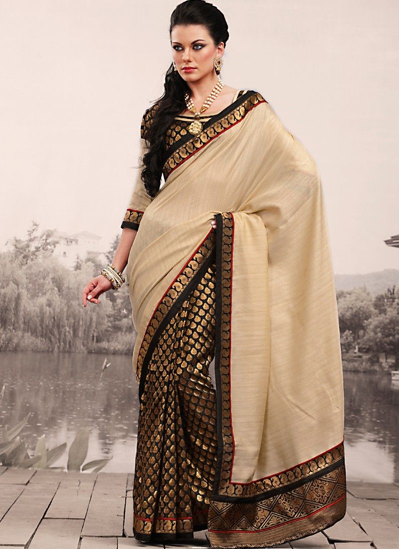 Luscious Bige Brown & Brown Embroidered Saree
