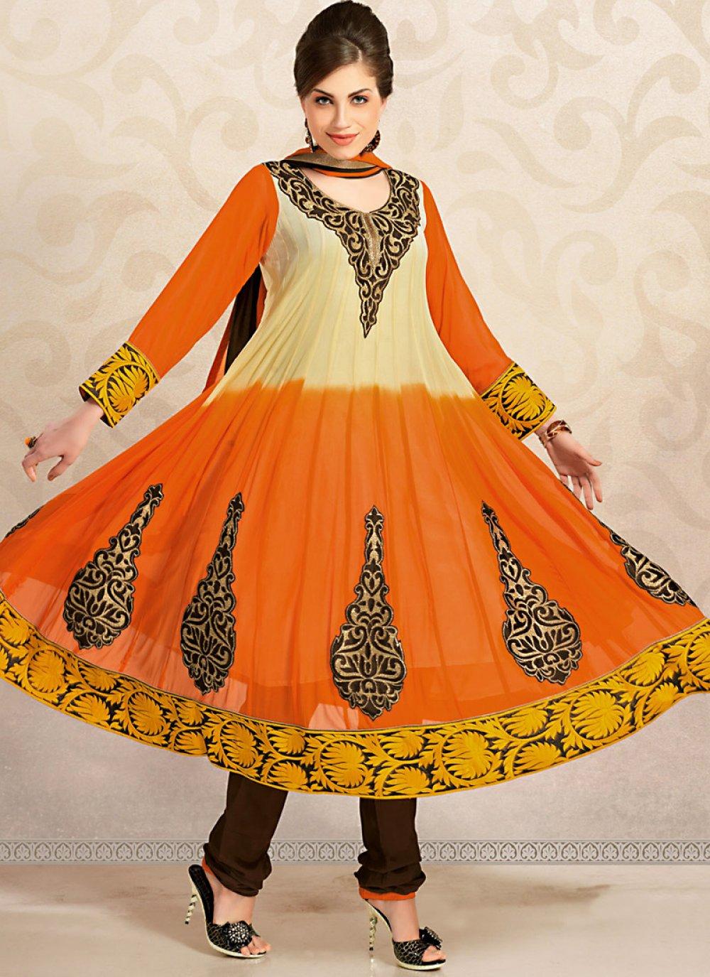 Luscious Bige Brown & Deep Orange Salwar Kameez