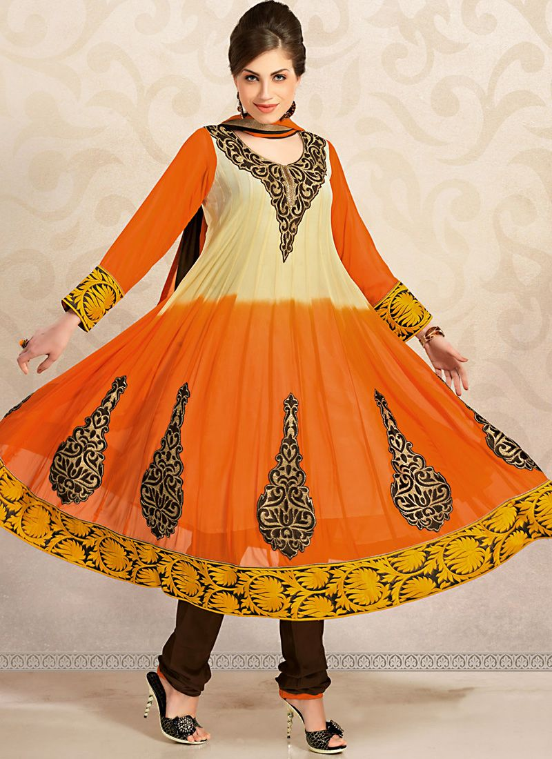 Luscious Bige Brown & Deep Orange Salwar Kameez