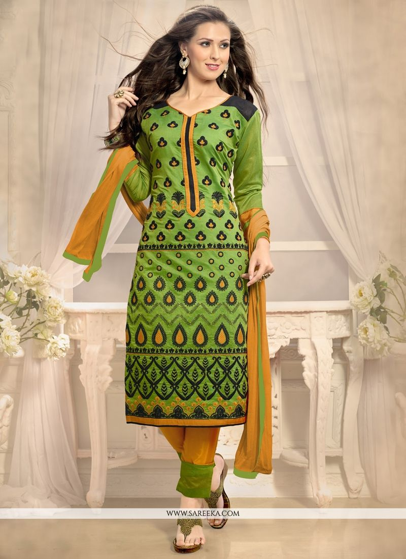 Luscious Chanderi Churidar Designer Suit
