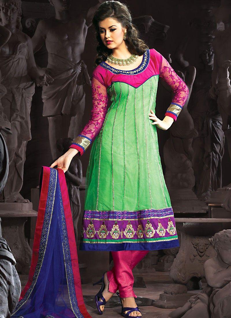 Luscious Deep Pink & Emerald Green Anarkali