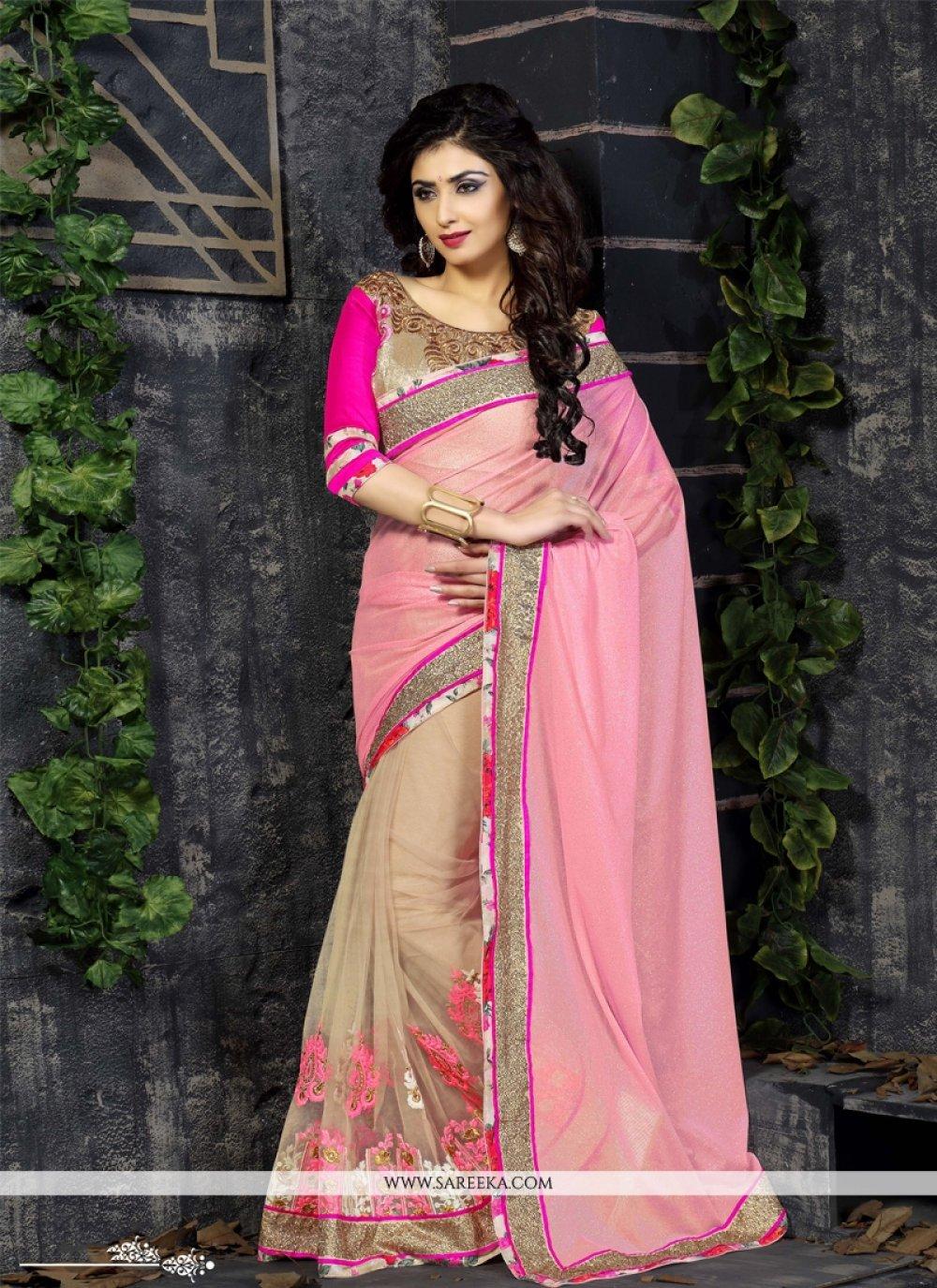 Luscious Embroidered Work Hot Pink Designer Saree