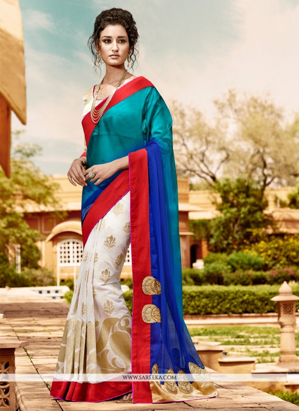 Luscious Faux Chiffon Blue and Off White Designer Saree