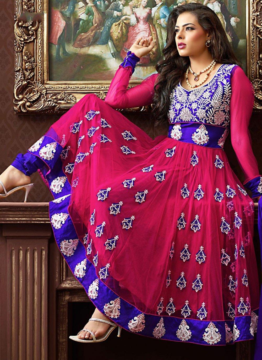 Luscious Fuchsia & Royal Blue Anarkali Suit