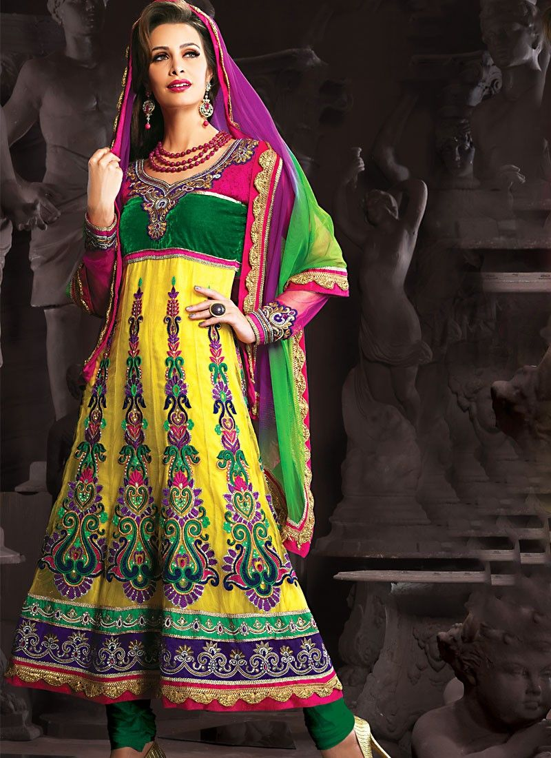 Luscious Gold Color Anarkali