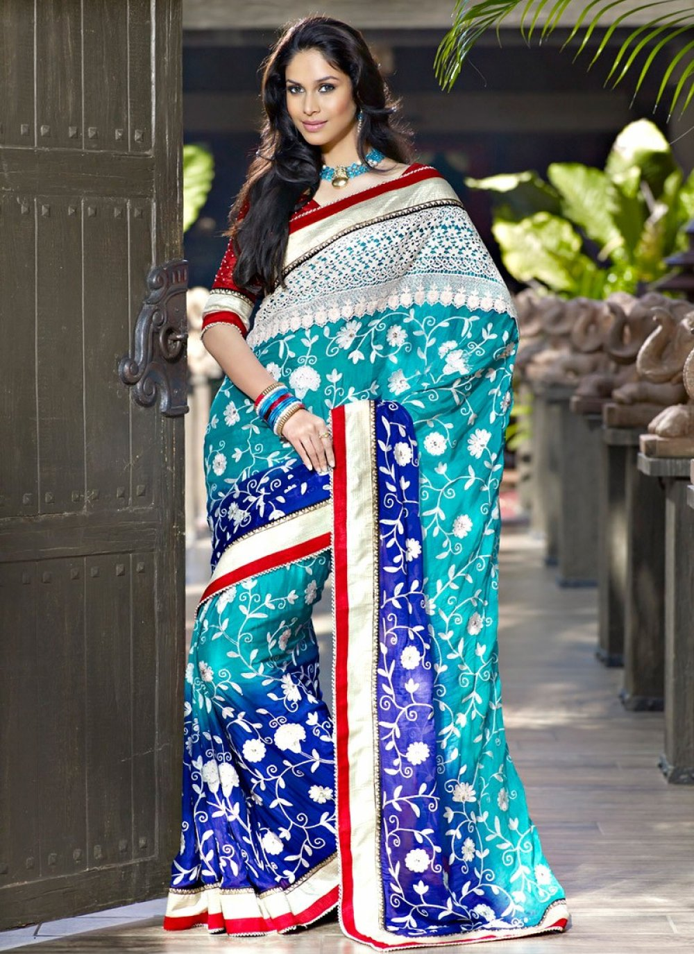 Luscious Navy Blue & Teal Blue Embroidered Saree