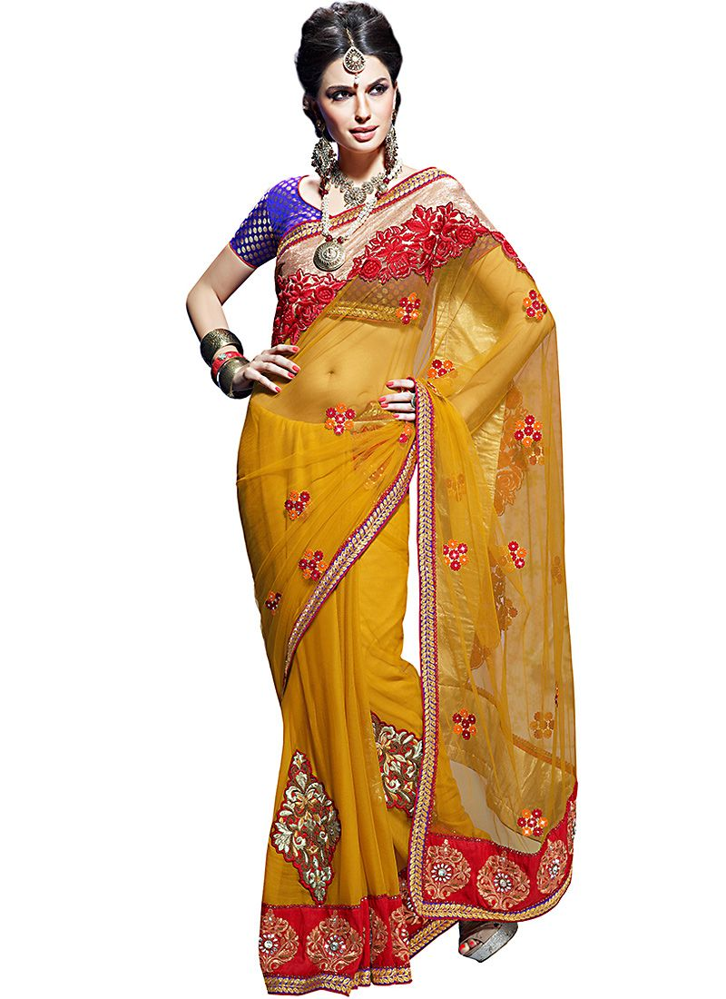 Luscious Orange Embroidered Saree