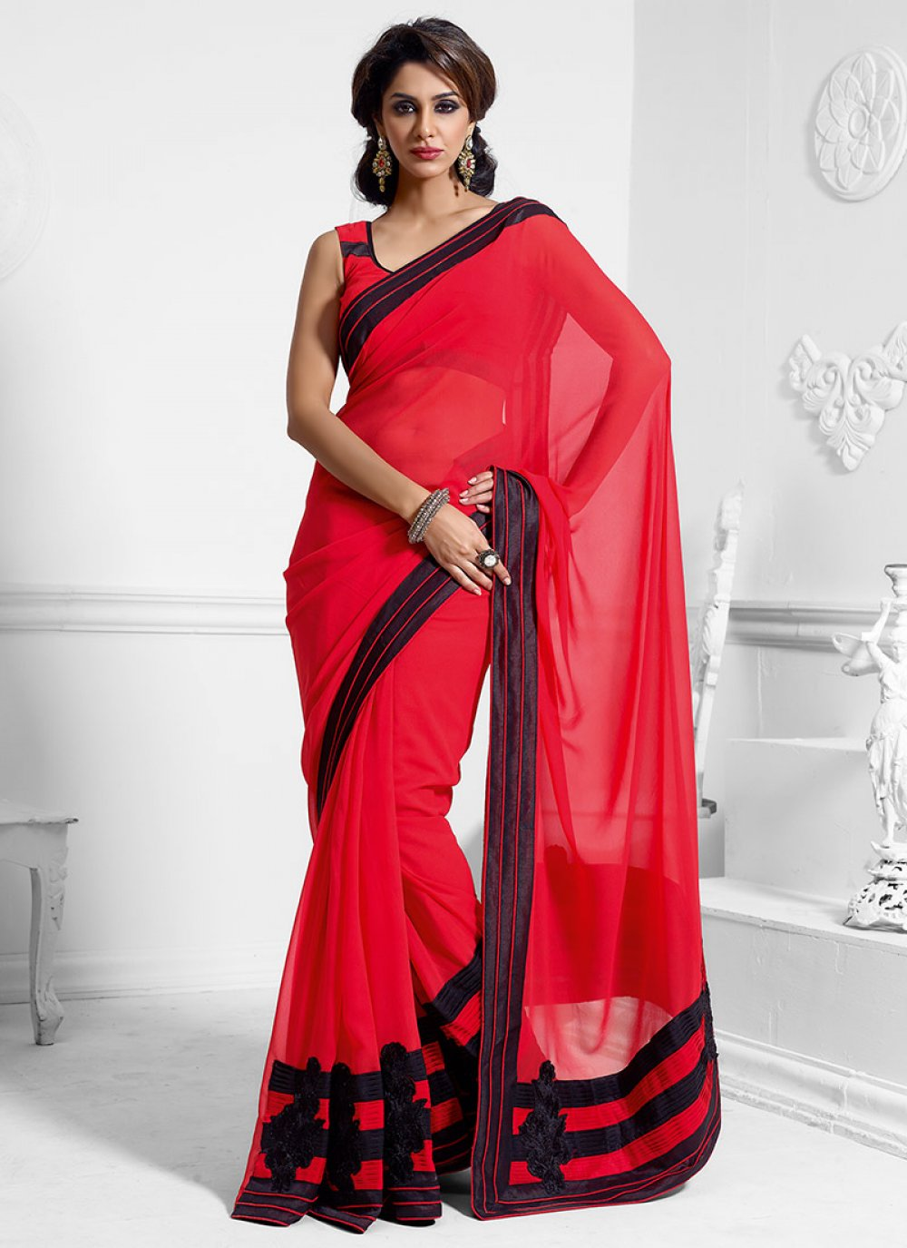 Luscious Red Faux Georgette Saree