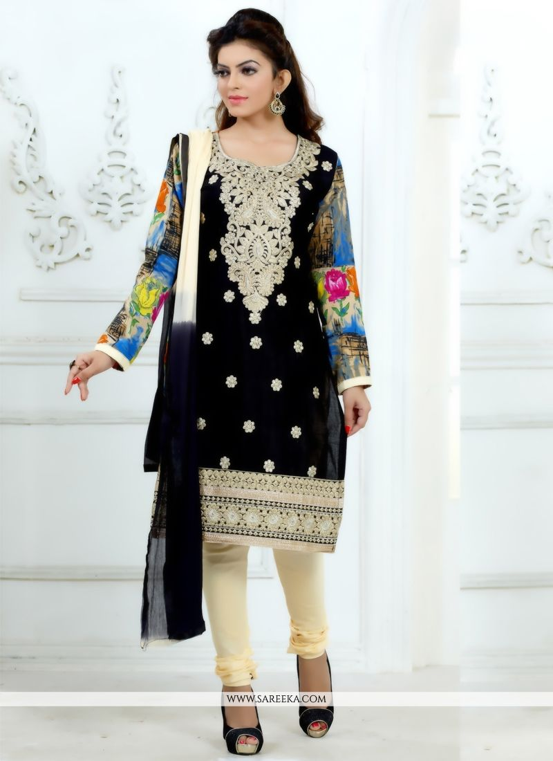 Luscious Resham Work Black Cotton   Churidar Salwar Suit