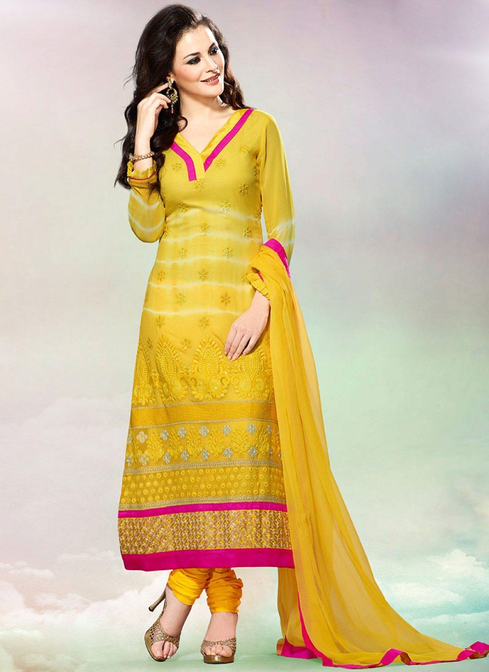 Luscious Yellow Georgette Churidar Suit