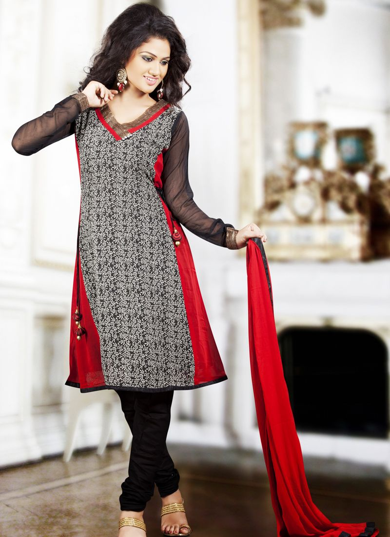 Lush Ash Gray & Crimson Salwar Kameez