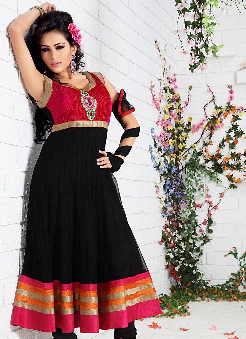 3b27a78662 Lush Bick Red & Black Salwar Kameez -