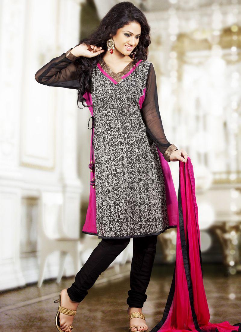 Lush Black & Pink Salwar Kameez