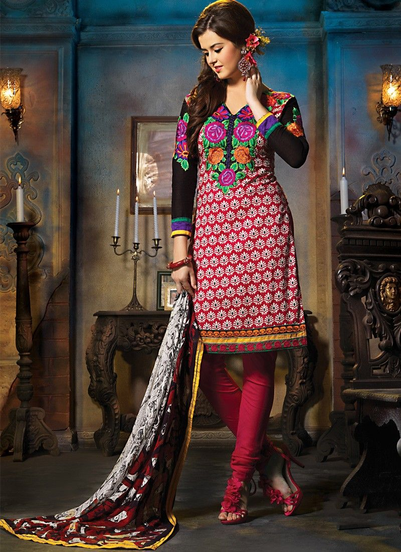 Lush Black & Red Salwar Kameez
