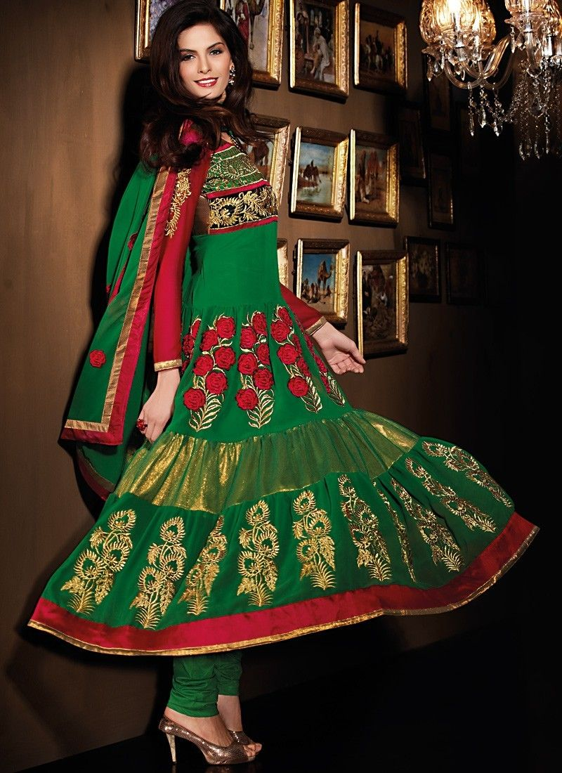 Lush Deep Scarlet Red & Emerald Green Salwar Kameez
