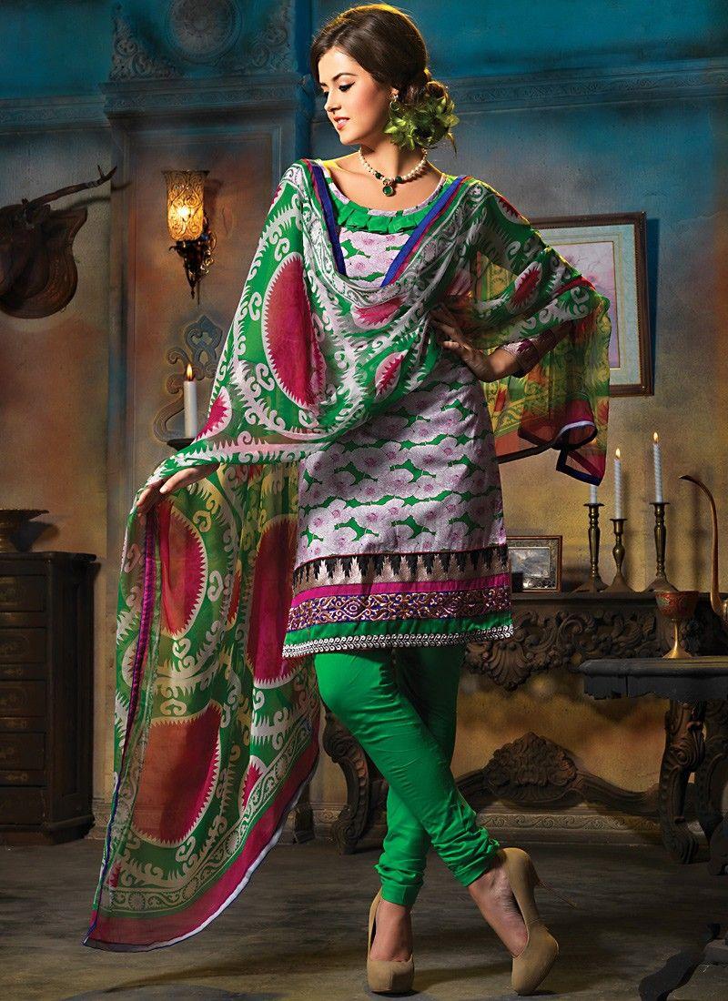 Lush Emerald Green & Gray Salwar Kameez