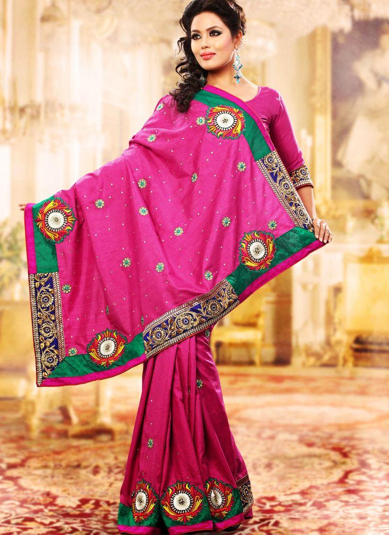 Lush Fuchsia Embroidered Saree