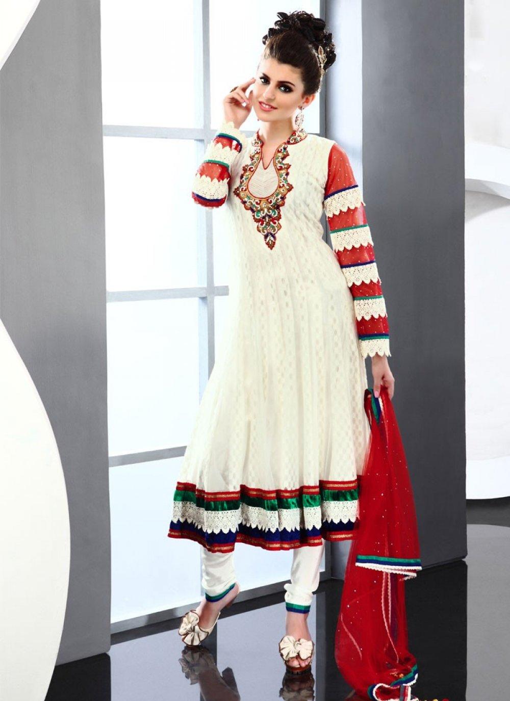 Lush Cream Net Anarkali Suit