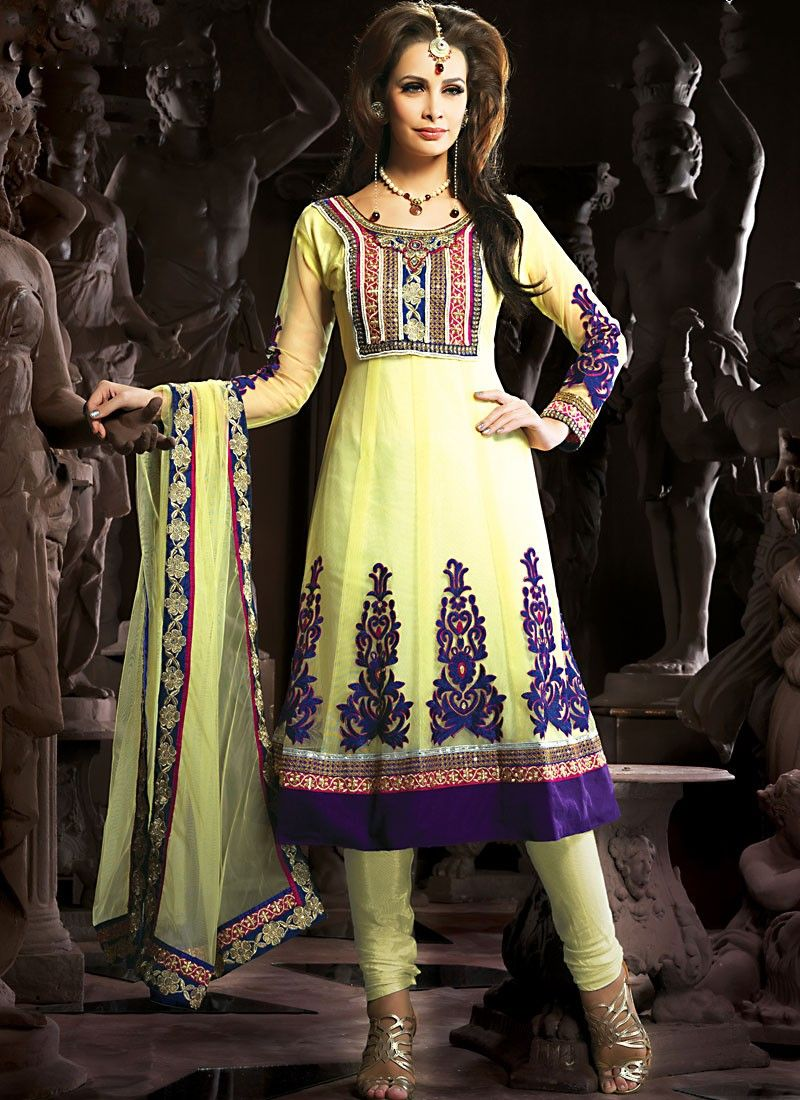 Lush Pale Gold Color Anarkali