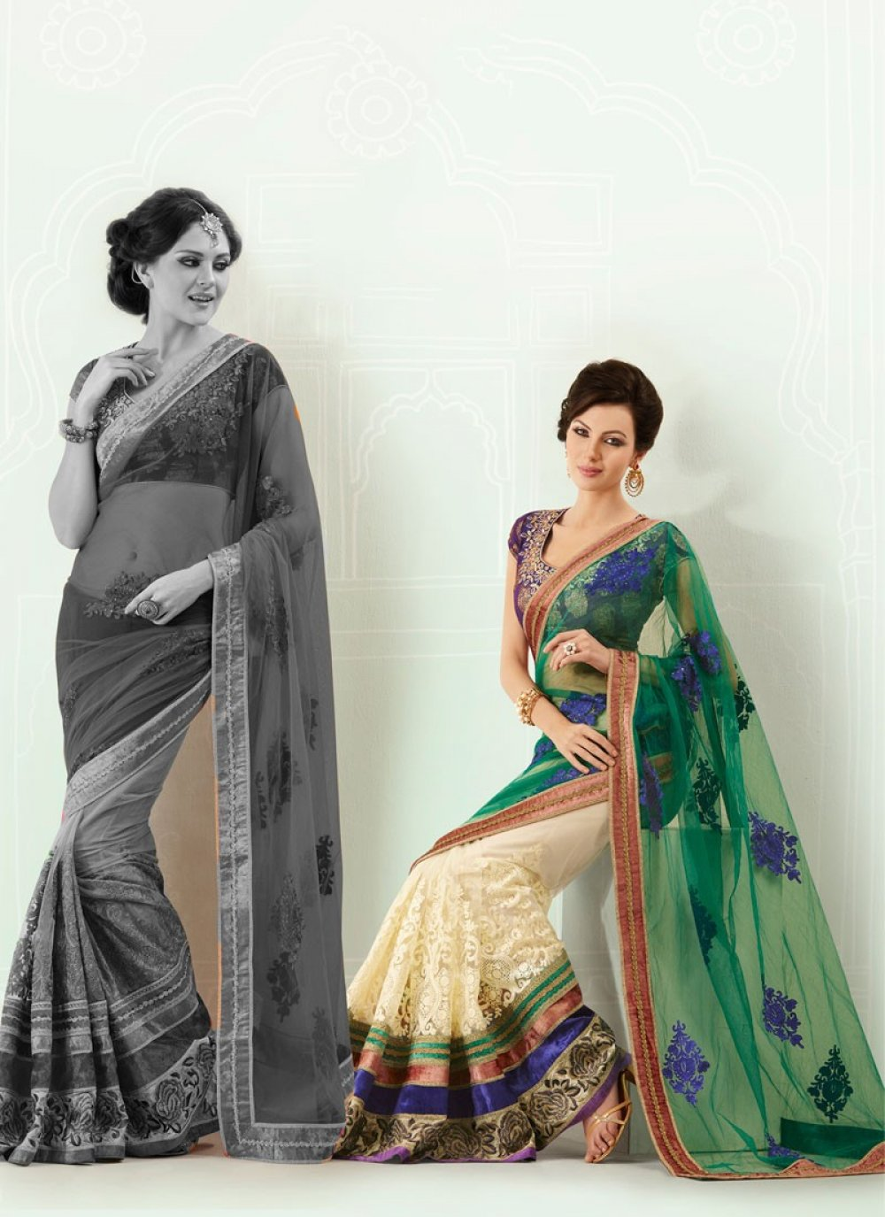Lush Teal Blue And Cream Net Embroidered Saree