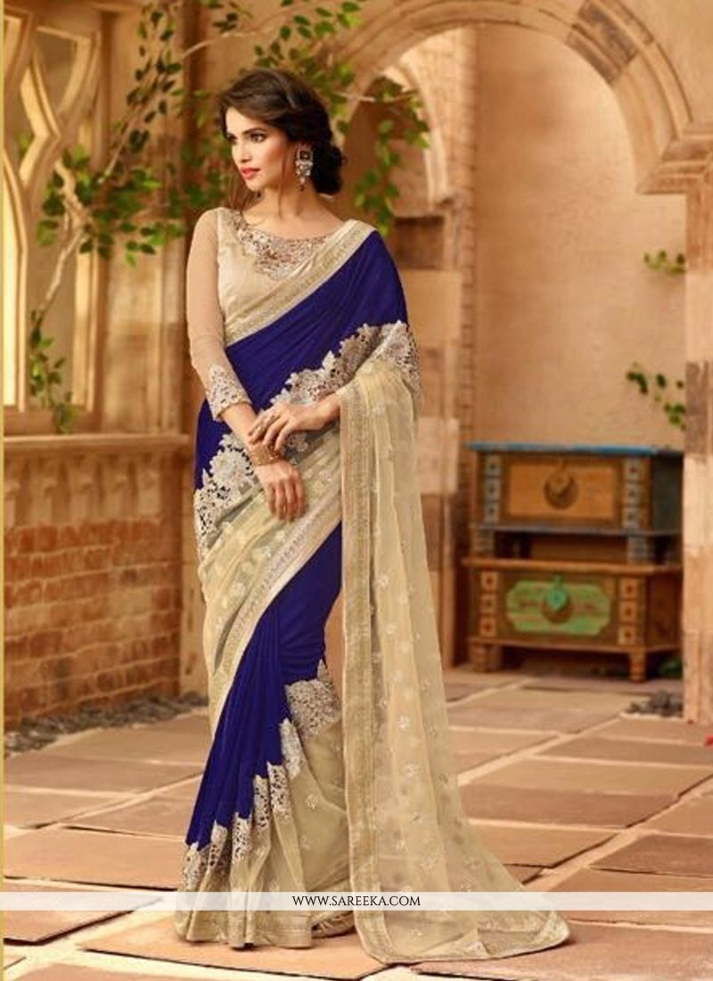 lustre blue embroidered work designer bridal sarees