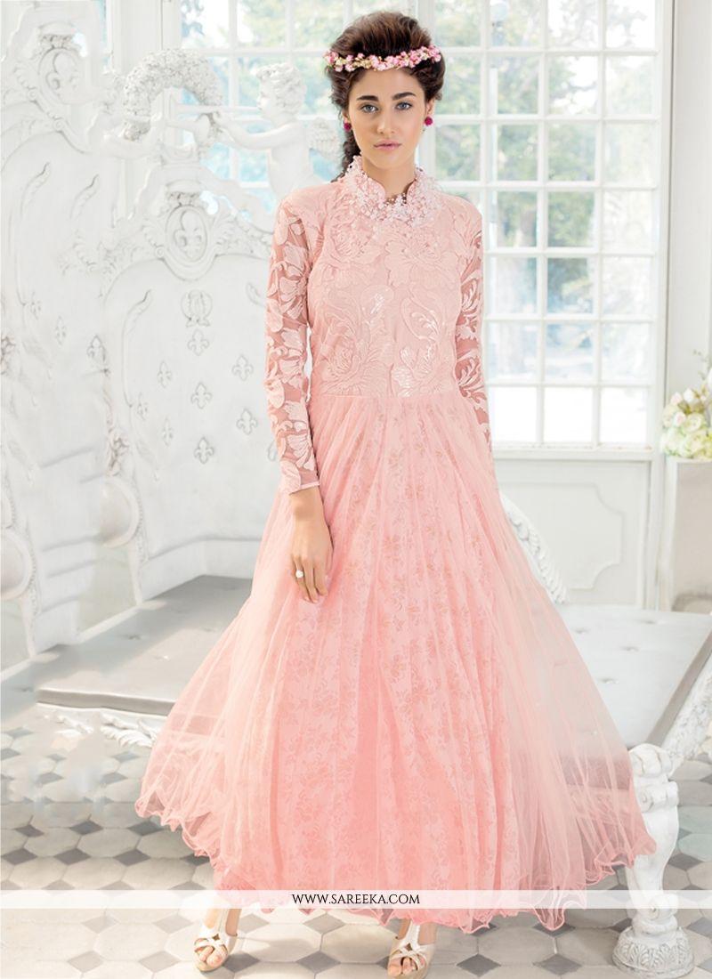e0af5f1b13 Lustre Embroidered Work Pink Net Long Length Anarkali Salwar Suit -