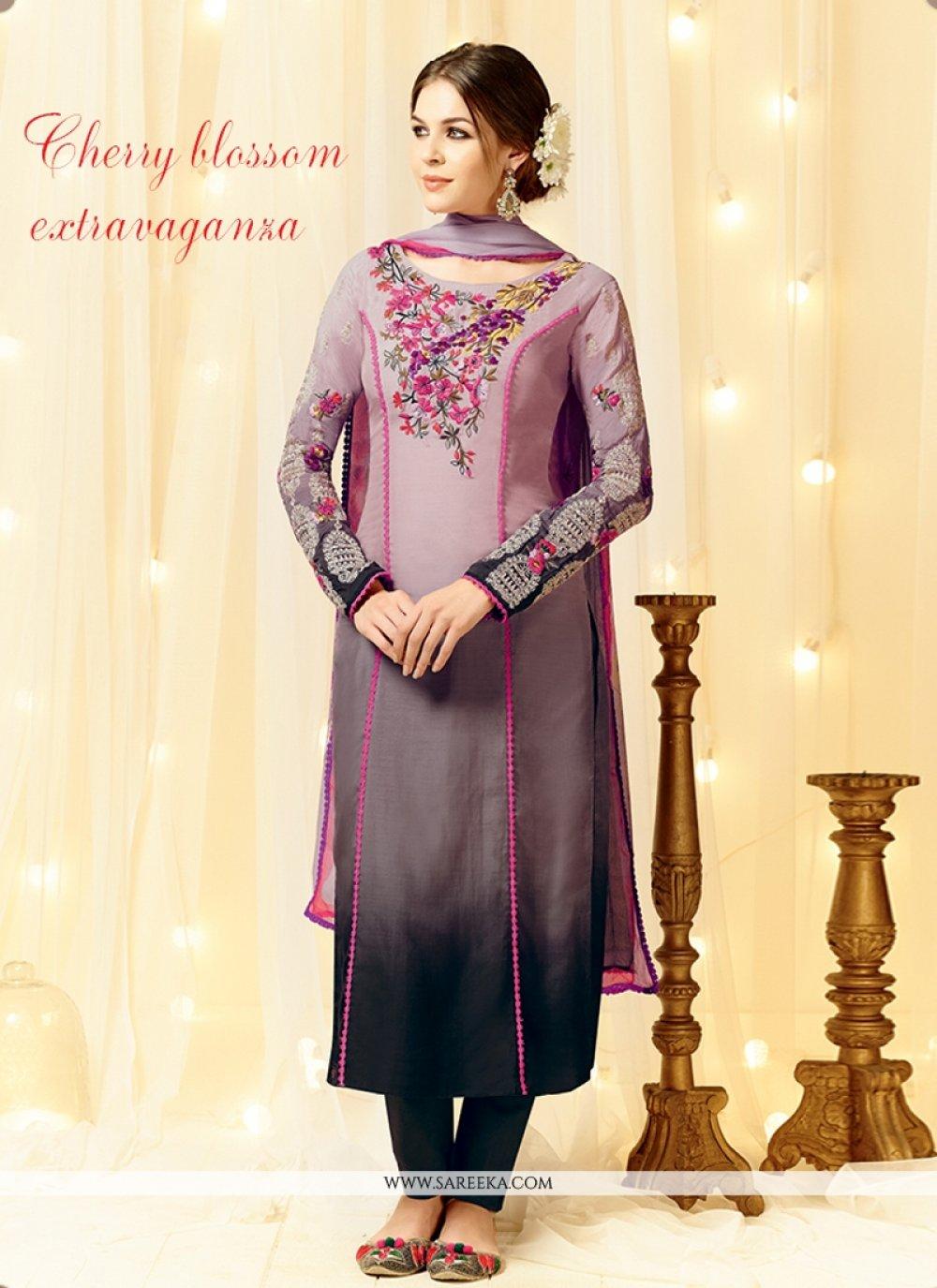 Lustre Grey Designer Straight Salwar Kameez