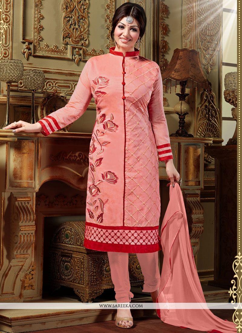 14be103c67 Lustre Resham Work Silk Peach Designer Straight Salwar Kameez -