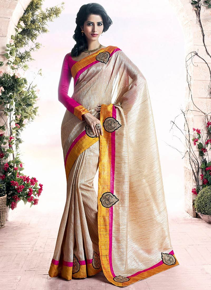 Lustrous Beige Art Silk Saree