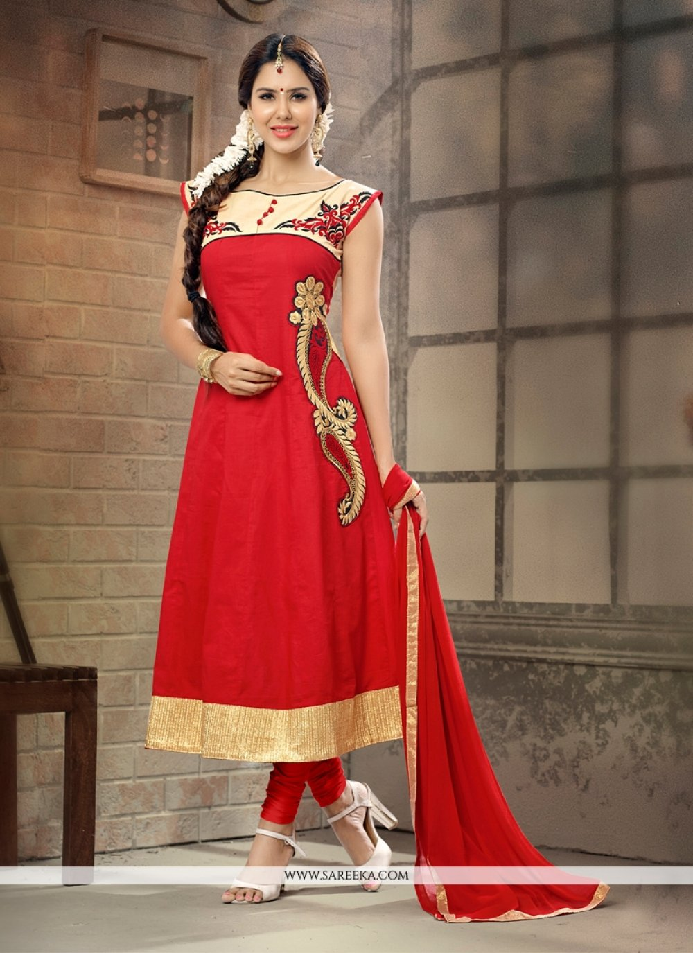 Lustrous Cotton   Red Embroidered Work Anarkali Suit
