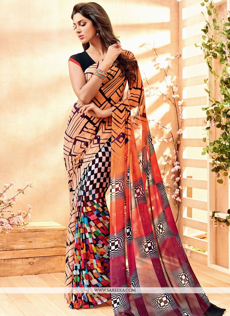 Lustrous Georgette Print Work Casual Saree