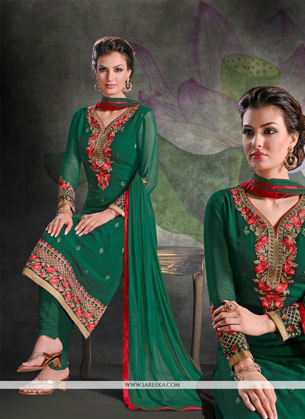 Lustrous Green Embroidered Work Georgette Churidar Salwar Suit